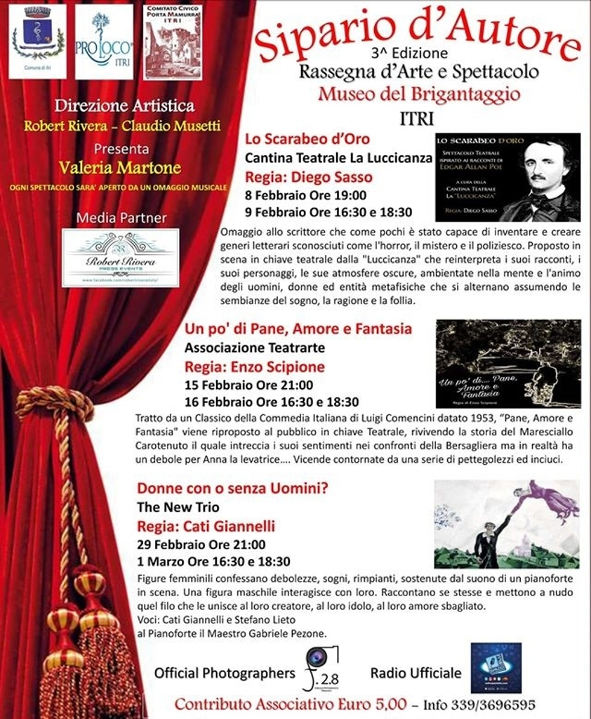 terza edizione rassegna teatrale sipario d'autore itri