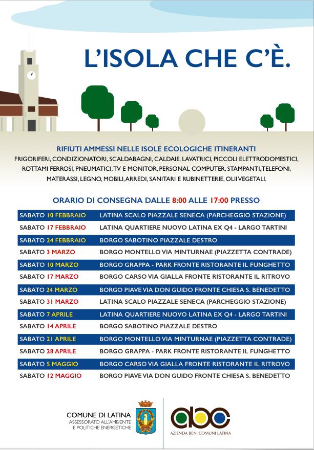 Raccolta Rifiuti Ingombranti Roma Calendario 2020.Raccolta Rifiuti Ingombranti A Latina Le Isole Ecologiche