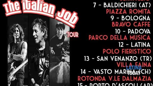 The Italian Job Tour di  Burns, Golinelli e Van Emmerloot a Latina
