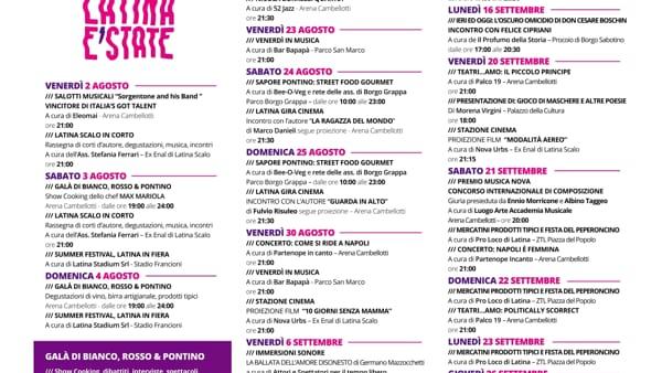 Latina E'State Un mare di eventi agosto e settembre-2
